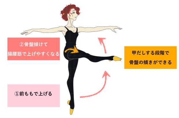 バレエ バットマン 足を高く上げる