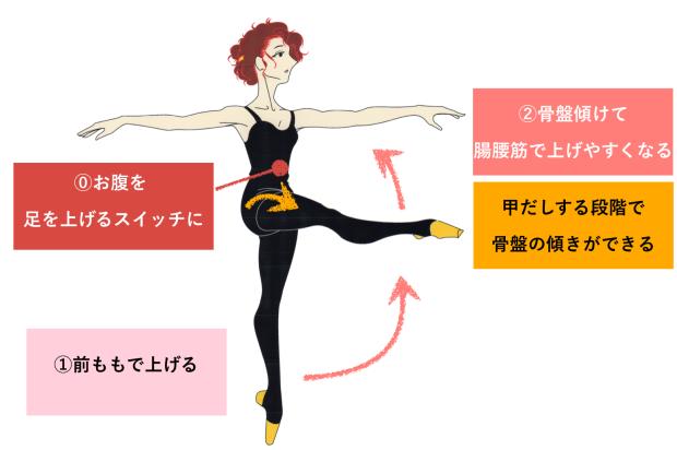 バレエ 足を上げる